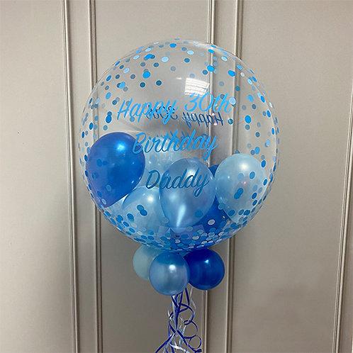 Blue Confetti Dot Gumball Bubble Balloon