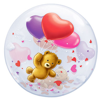 Bear holding hearts Bubble Balloon