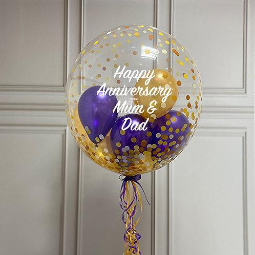 Gold Confetti Dot Gumball Bubble Balloon