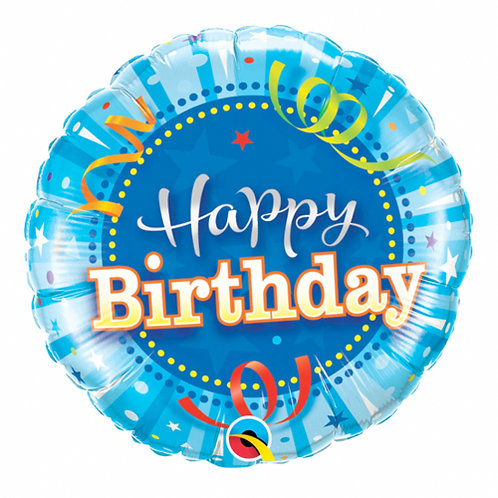 "Happy Birthday Bright Blue 18"" Foil Balloon Helium Filled"
