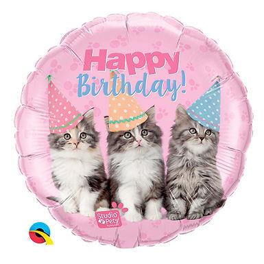 "Happy Birthday Kittens 18"" Foil Balloon Helium Filled"