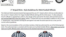 OSAA/OAOA Approve 2-inch Striped Shirts for Oregon Football Officials