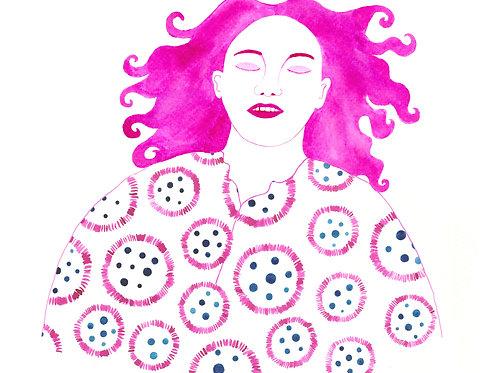 """Pink Portrait"" Postcard"
