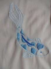 Embroidered Koi Dress (close up)
