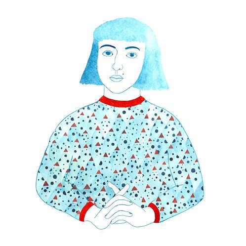 """""""Blue Portrait"""" Postcard"""