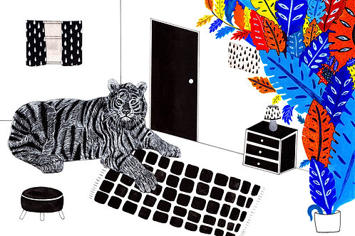 """Tiger in my Room"" Postcard"