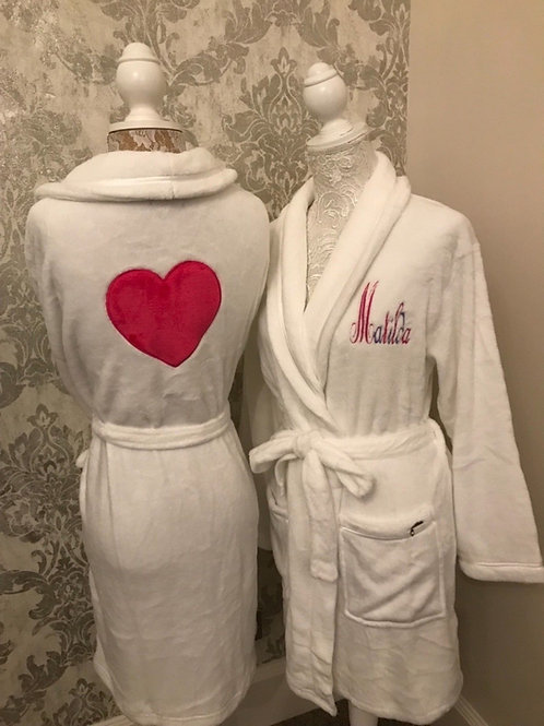 Luxury Embroidered  white heart robe