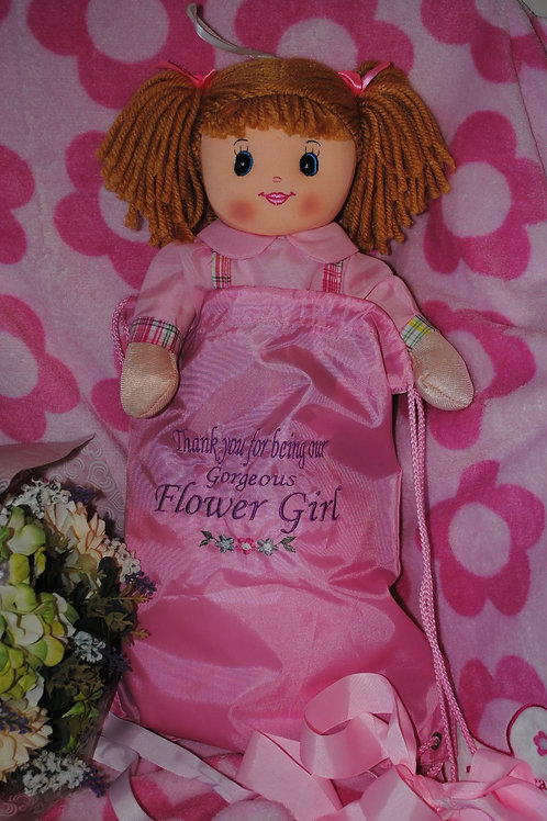 Flower Girl Personalised Bag and 20cm Rag Doll
