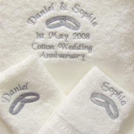 White embroidered ring towel set
