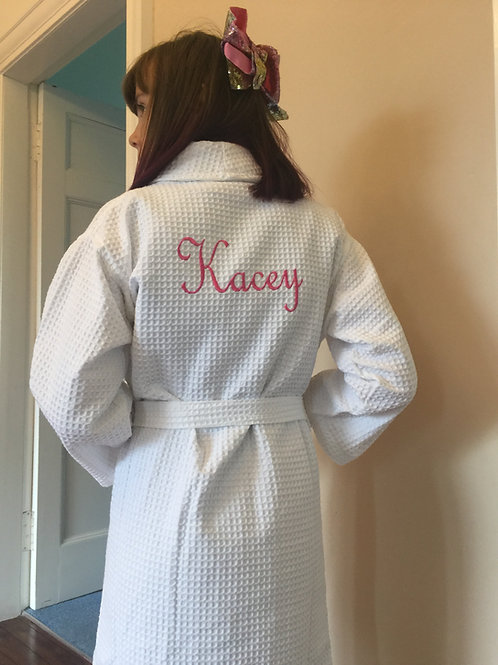 Childrens white waffle robes