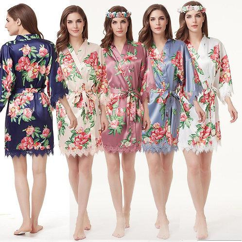 Floral Milan Satin Lace Robe