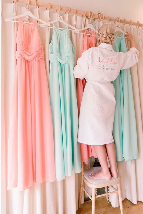 Waffle long Embroidered Robes