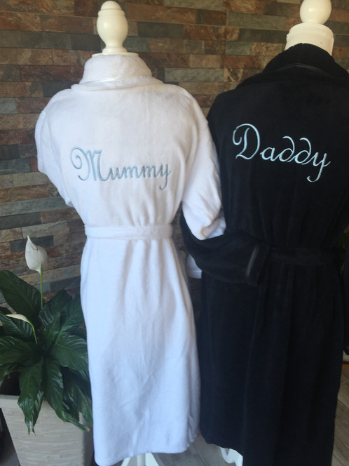 Luxury Matching Mummy and Daddy Embroidered Robes