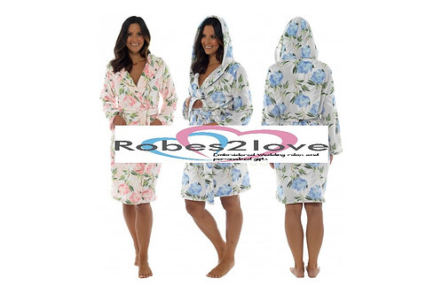 Vienna Fleur Soft warm hooded robes