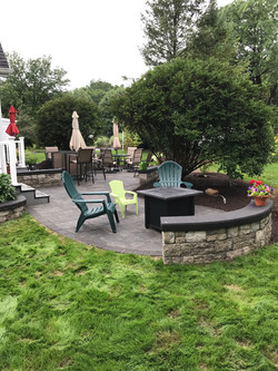 Firepit area and wall