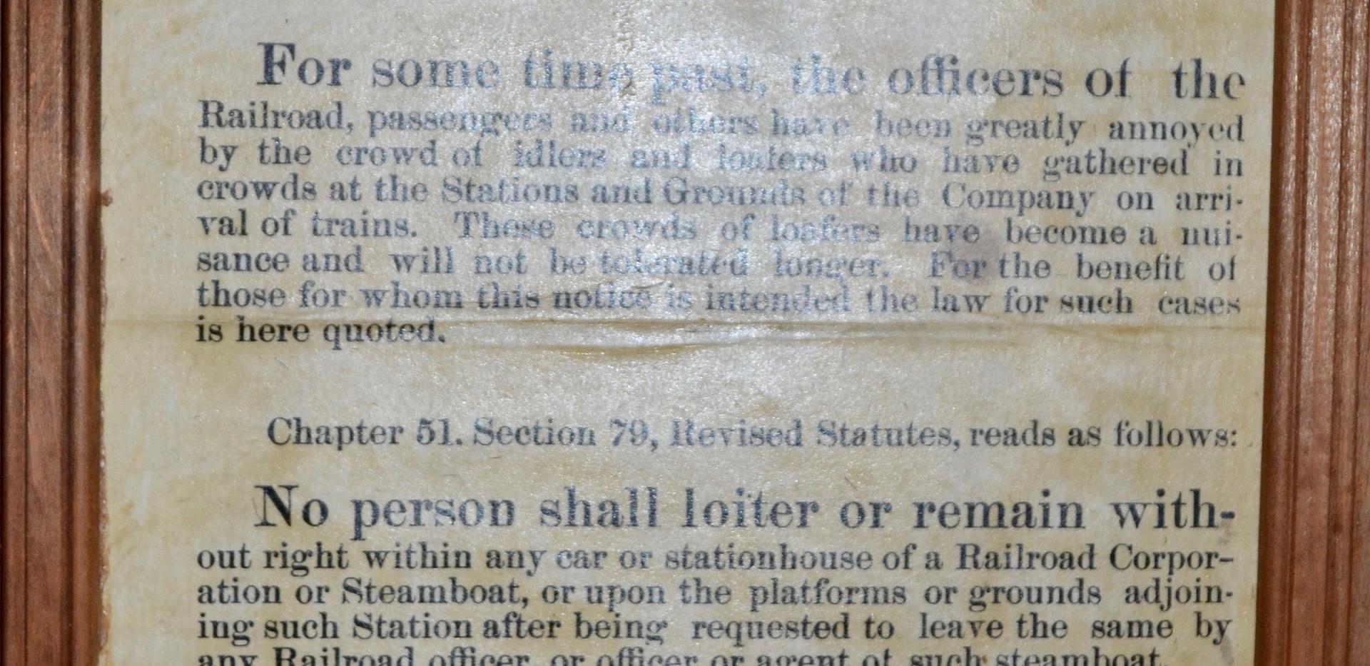 No Loitering Warning - Bridgton & Saco River Railroad