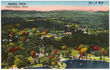 A postcard showing an aerial view of North Bridgton 1959