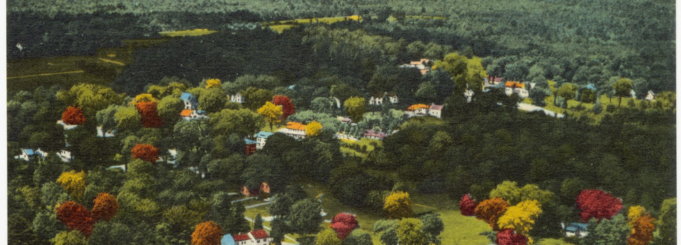Postcard Showing Aerial View of North Bridgton Above Long Lake 1959