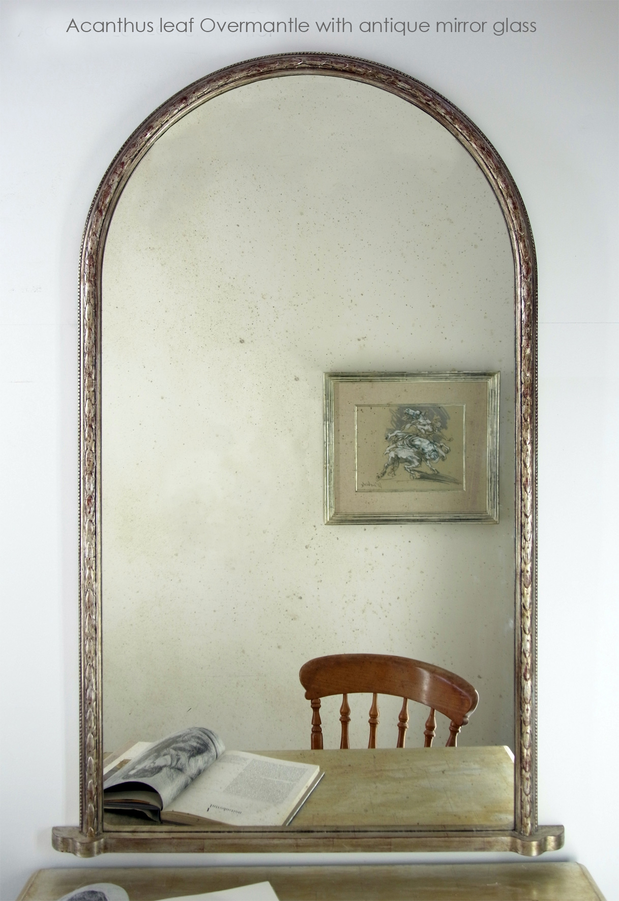 Patrick Acanthus-overmantle with antique mirror glass