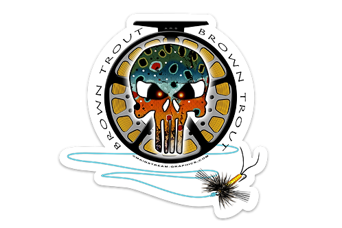 BROWN TROUT SKULL DECAL