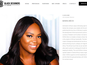 Kisina Déco now on the Black Designers in Canada website!