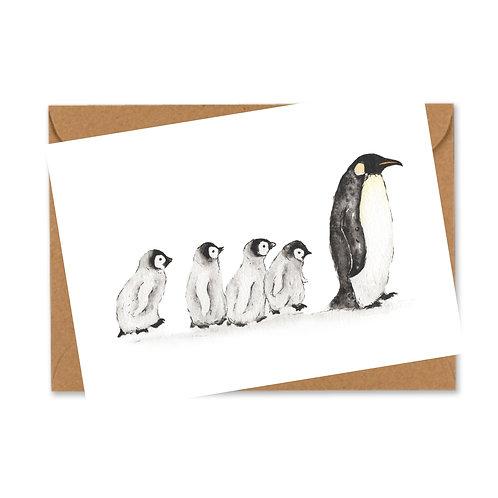 Pack of 5 Penguin Family Christmas cards