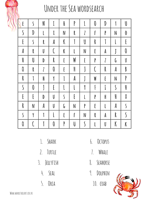 FREE Under the Sea Wordsearch