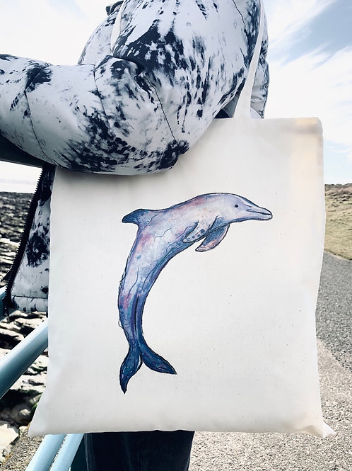 100% Natural Cotton Dolphin tote bag