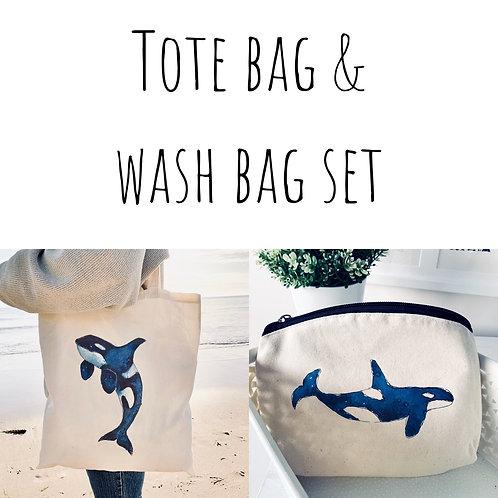 Orca Tote bag & Wash bag set