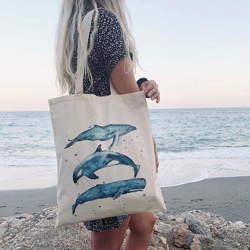 100% Natural Cotton Whale trio tote bag
