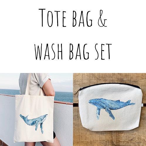 Humpback Tote bag & Wash bag set