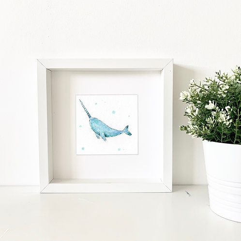 Narwhal mini original watercolour