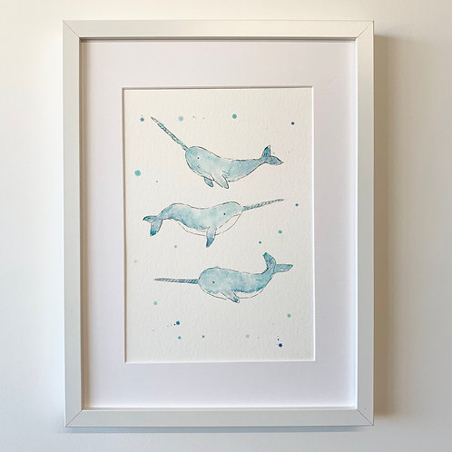 Narwhal Trio - Original watercolour