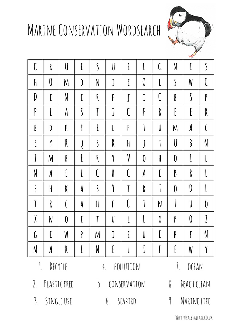 FREE Marine Conservation Wordsearch