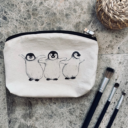 100% Natural Cotton Penguin wash bag