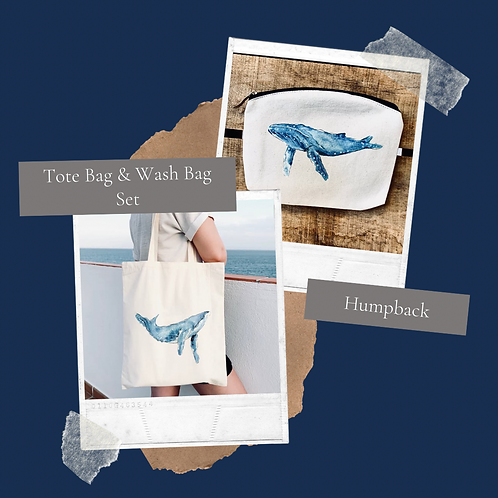 Humpback Tote bag & Wash bag set