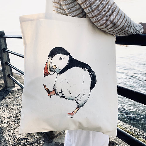 100% Natural Cotton Puffin tote bag