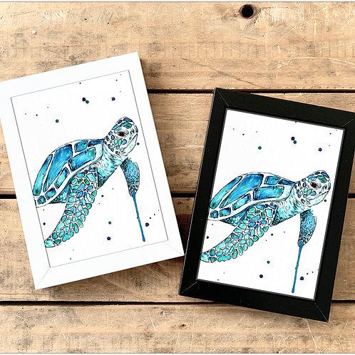 Turtle Mini Watercolour Painting