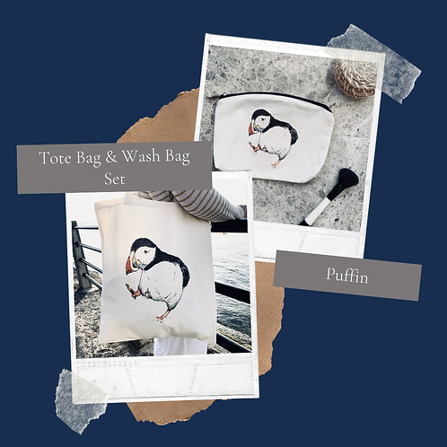 Puffin Tote bag & Wash bag set