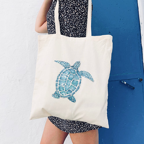 100% Natural Cotton Turtle tote bag