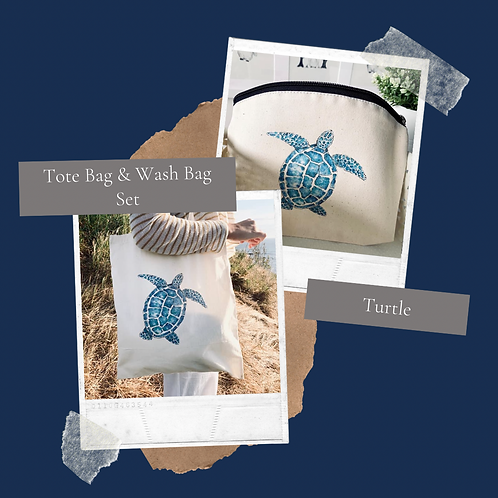 Turtle Tote bag & Wash bag set