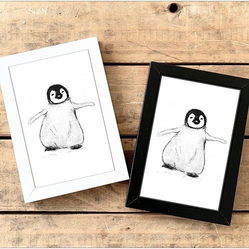 Happy Penguin Mini Watercolour Painting