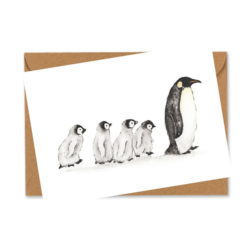 Individual Penguin Family Christmas card