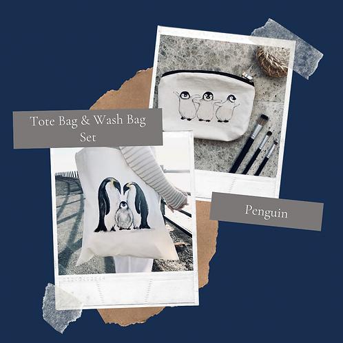 Penguin Tote bag & Wash bag set