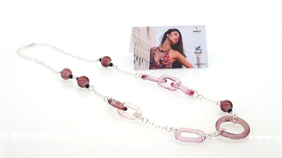 Pink necklace Murano glass