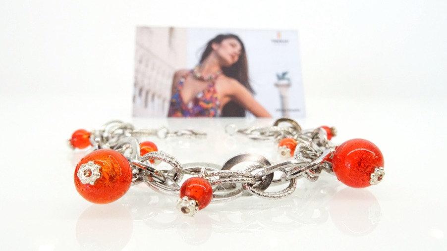 Silver Murano glass  bracelet