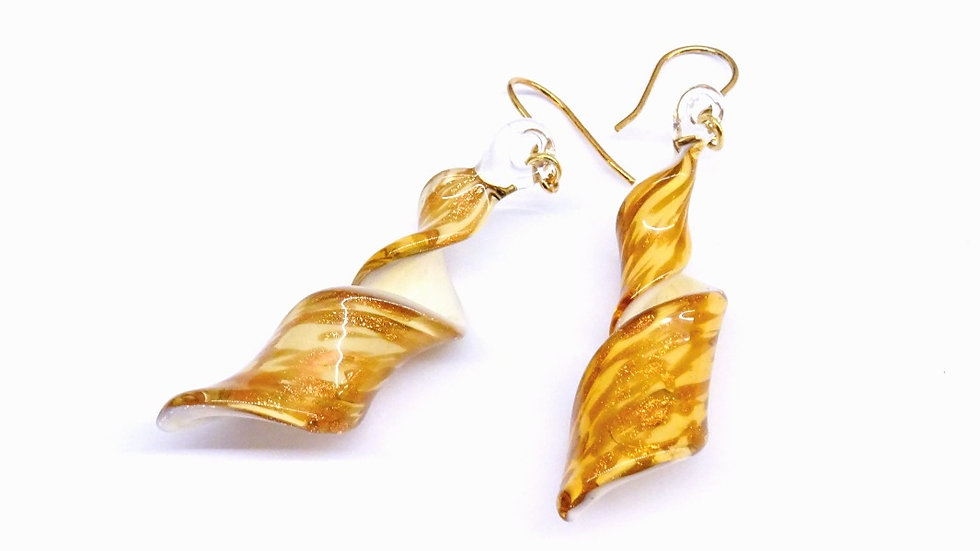 Murano glass spiraling earrings
