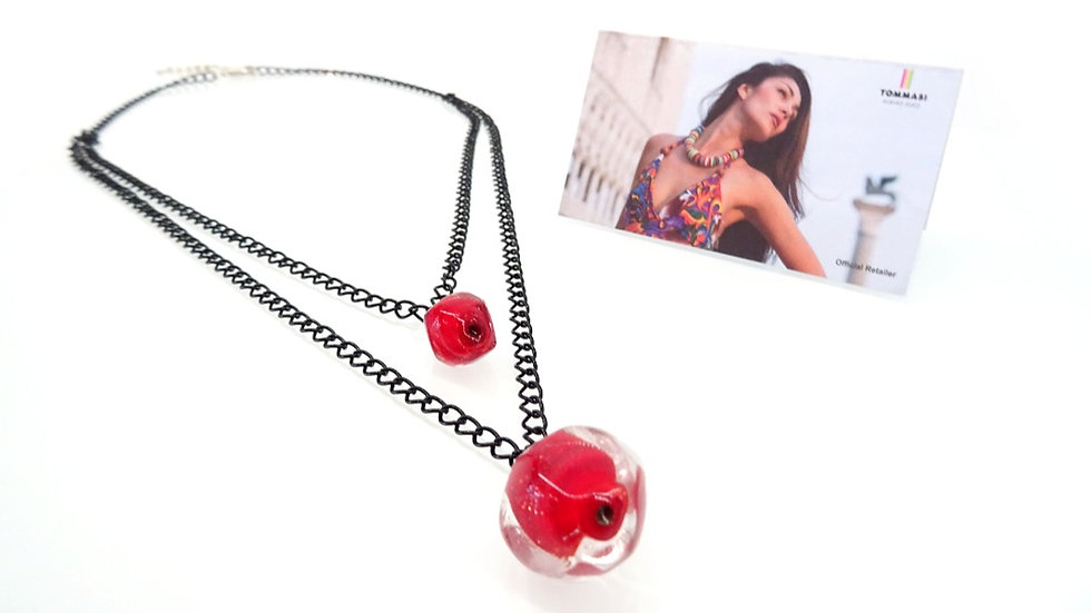 Murano glass layered necklace with black chain