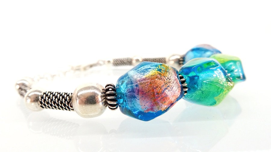 Bracelet in 925 silver and murano glass beads