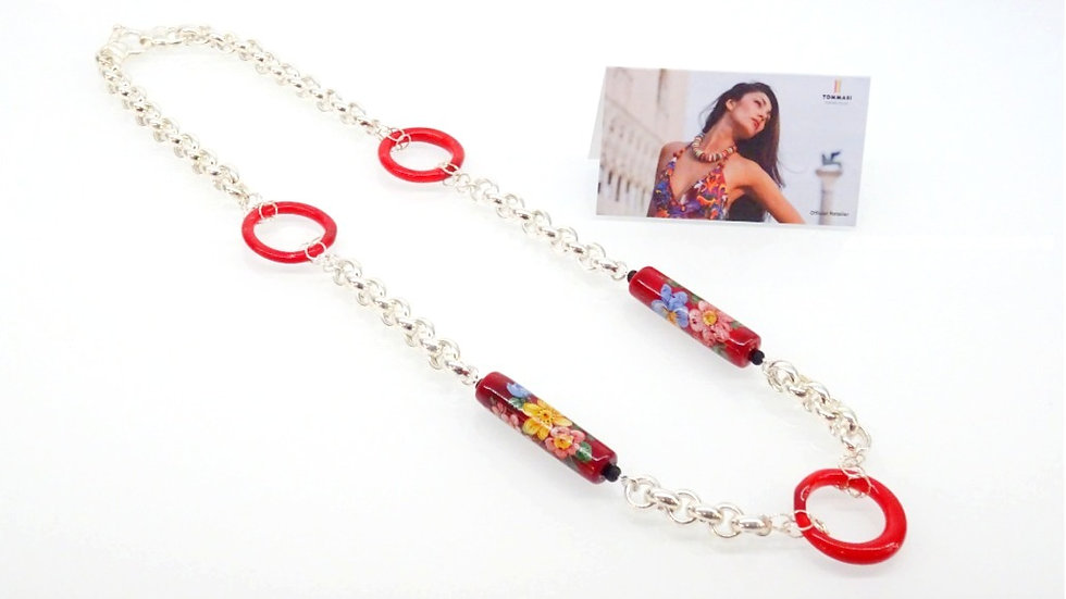 Murano glass red necklace